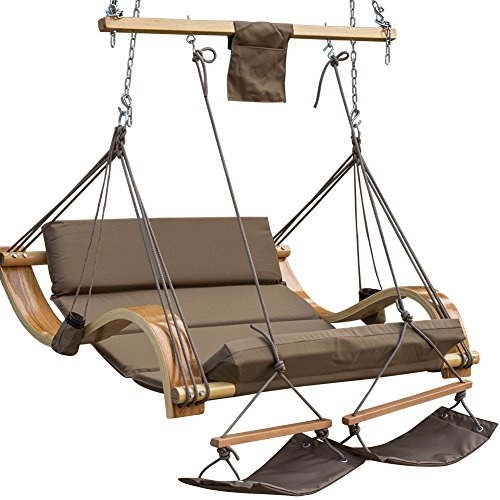 LazyDaze Hammocks Deluxe Oversized Double Hanging Rope Chair Cotton Padded  Swing Chair Wood Arc Hammock Seat