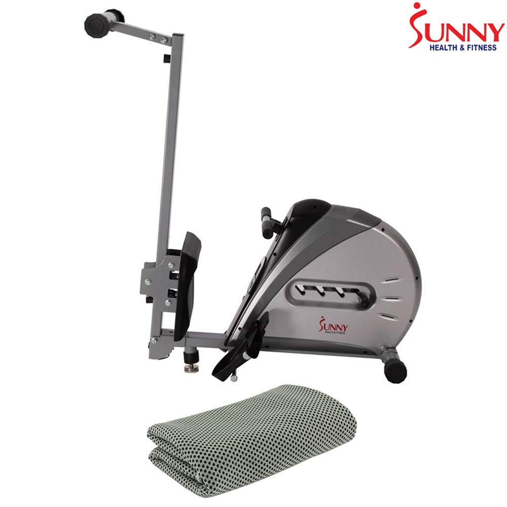 Sunny Health and Fitness Elastic Cord Rowing Machine Rower w/LCD Monitor (SF-RW5606) + Workout Cooling Towel