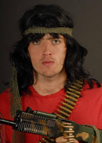 80s Action Hero Black Rambo Style Wig