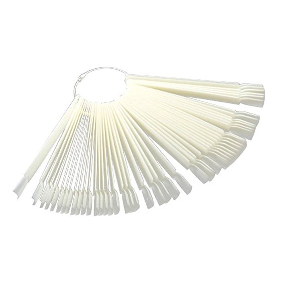 Nail Art Polish Board Tips 50 False Display Practice Sticks Fan-Shaped Tool Kit (Milky 1) Qiqilei MFSUT311195