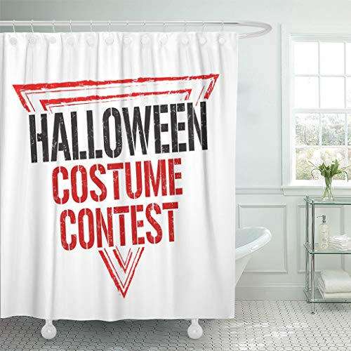 Semtomn Shower Curtain Autumn Aged Halloween Costume Contest Rubber Stamp on White Shower Curtains Sets with 12 Hooks 72 x 72 Inches Waterproof Polyester Fabric ()