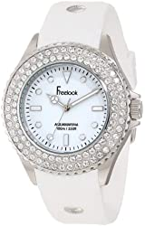 Freelook Women's HA9036-9 White Band & Dial Ss Case Swarovski Bezel Watch
