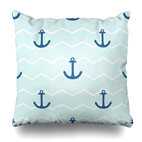 ONELZ SailorAnchor Stripes Square Decorative Throw PillowCase Two Sides Printed, Fashion Style Zippered Cushion Pillow Cover(18 x 18 inch)