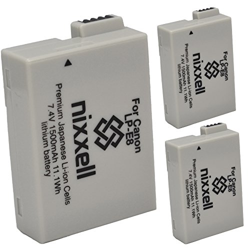 ( 3 Pack ) Ultra High Capacity Original Nixxell Battery for Canon LP-E8 LC-E8 LPE8 for Canon EOS 550D, EOS 600D, EOS 700D, EOS Rebel T2i, EOS Rebel T3i, EOS Rebel T4i, EOS Rebel T5i & Many More!