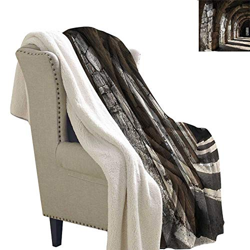 (Winter Quilt Ancient Dark Shadows Stone Portico Gift Throw Blanket for Women Men W59 x L31)