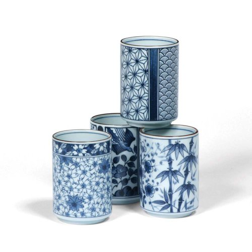Japanese Assorted Blue and White Teacup Gift Set with Four Assorted Designs by MIYA by MIYA