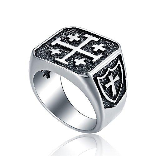 Stainless Steel Signet Biker Ring for Mens Crusader Jerusalem Cross Ring Size 14 - Jerusalem Cross Ring Size 14