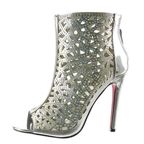 Angkorly - Chaussure Mode Bottine Sandale Peep-Toe stiletto sexy femme strass diamant multi-bride Talon haut aiguille 11 CM - Argent