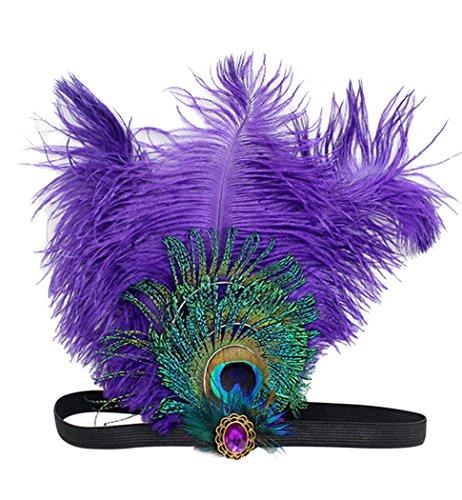 Mardi Gras Peacock (Aniwon Flapper Headband Feather Headband with Rhinestone Decoration)