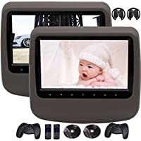 2 IR Headphone as Free Gift! Pair of 9 Inch High Resolution Digital LCD Screen Auto Monitor Car Headrest DVD Player with Game Disc Remote Control support HDMI Input and AV Input&output USB/SD Card