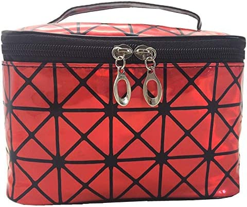 LANYAOWEN 多機能化粧品袋の女性のレザートラベルメイクアップ必需オーガナイザージッパー化粧ケースポーチトイレタリーキットバッグ (Color : Red)