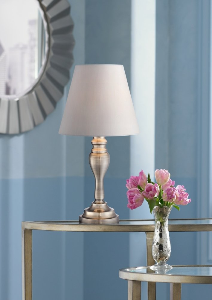 """Thom Traditional Desk Table Lamp 19 1/4"""" High Brass Candlestick White Bell Shade Touch On Off for Bedroom Bedside Office - Regency Hill - 19 1/4"""" high overall. Base is 5"""" wide. Shade only is 5 1/2"""" across the top x 9 1/2"""" across the bottom x 8"""" on the slant. Includes one 60 watt G9 halogen bulb. Maximum 60 watt bulb. Touch lamp with a traditional candlestick style base, from Regency Hill lighting. - lamps, bedroom-decor, bedroom - 511GvMJBFzL -"""