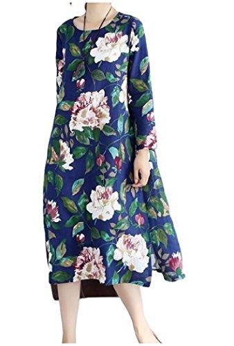 Plus Size Casuale Vestito Metà Lato Manica Coolred Stampato As11 Lunga Donne Fessura S6f1cq