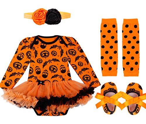 FEESHOW Infant Baby Girls Pumpkin First Halloween Costume Tutu Romper Outfit Set (0-3 Months, Orange Pumpkin Skull) -