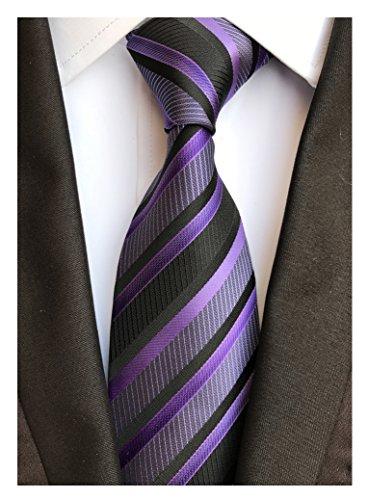 Men's Purple Black Neckties Silk For Men Suit Fitness Dating Fashion Prom Ties (Necktie Chain Silk)