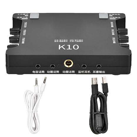 Portable Live Sound Card, K10 USB External Sound Card