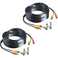 JerGO Professional Grade Siamese Combo Coaxial Cable Pre-made All-in-One BNC Video Power Cable for 1080P /720P, TVI, CVI, AHD and HD-SDI Camera and Analog CCTV Camera ( Black 150Ft )(2-Pack)