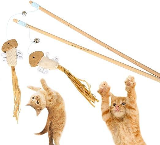 MLQ 2 Piezas Juguete de Madera para Gato, Juguete Interactivo para Gatos, Juguete para ejercitar los Dientes y Varita de Madera interactiva, Divertido Juguete para Mascotas con Campana: Amazon.es: Productos para mascotas