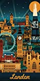 Lantern Press London England Retro Skyline Illustrated Decorative Travel City Art Poster Print, Rolled 12 by 24