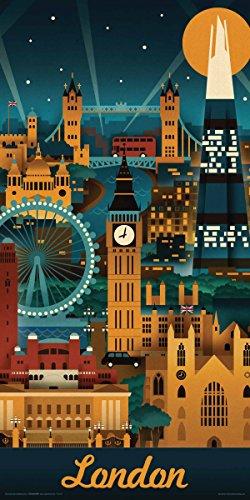 Culturenik Lantern Press London England Retro Skyline Illustrated Decorative Travel City Art Print (Unframed 12x24 ()