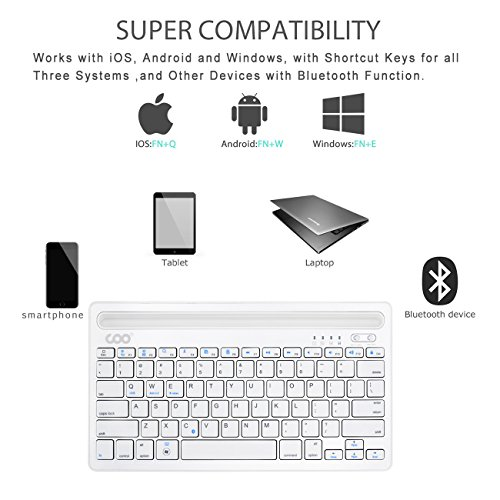 Bluetooth Keyboard, Dual Channel Multi-Device Universal Wireless Bluetooth Rechargeable Keyboard with Sturdy Stand for Tablet Smartphone PC Windows Android iOS Mac(Silver) by COO (Image #4)