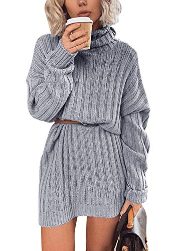 Yidarton Womens Long Sleeve Turtleneck Jumpers Casual Knitted Dress Sweater Dress Pullover
