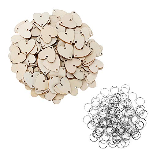 Joy-Leo 100 Pieces Jump Rings & 100 Pieces Heart Unfinished Wood Cutouts with 2 Holes [1.2 Inch/Natural Look] for Crafts & Family Birthday & Anniversary & Celebration Reminder Calendar Board ()