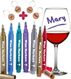 wine accessories funny - Wine Glass Markers, Pack of 7 By Vaci + 4 Wine Glass Charms, Metallic Color Pens Drink Markers, Personalize your Drink, Washable Wine Accessories Gift