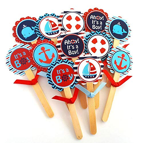 Ahoy It's a Boy Nautical Cupcake Toppers - Children Sea Ocean Baby Shower Party Supplies - Set of 12 ()