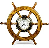 Premium Nautical Home Decor Polystone Pirate's Porthole Clock Ship Wheel | Nagina International (20 Inches)