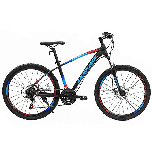 Murtisol Aluminum Mountain Bike 26'' Hybrid Bicycle with Dual Disc Brake, 21 Speeds Derailleur, Light Weight Frame, Suspension Fork, Adjustable Seat in 3 Colors (Blue) (Specialized Hybrid Bike)