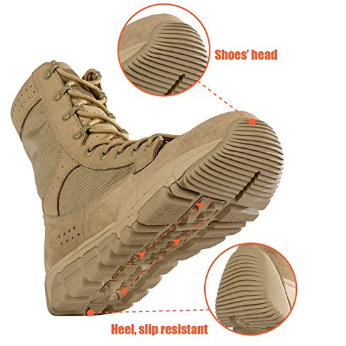 SOLDIER and Bumper Inch Military 7 Deeply Boots Tan Tactical Toe FREE Boots 8 Serrated Tan Heel Mens Desert gwqzCKKdxp