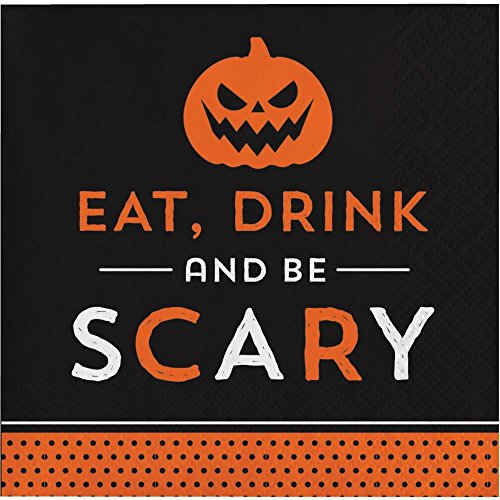 Halloween Eat, Drink and Be Scary 5.5 Inch Paper Cocktail Napkins - Pack of 32