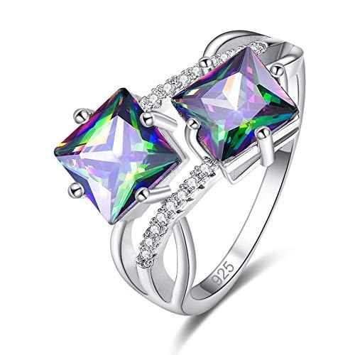 (PAKULA Silver Plated Women Princess Cut Simulated Rainbow Topaz BFF Ring)