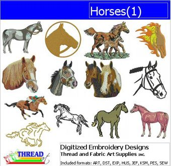 - Threadart Machine Embroidery Designs - Horses(1) - USB Stick