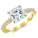 Image of 1.43 Cttw 14K Yellow Gold Princess Cut Classic Prong Set Diamond Engagement Ring with a 1 Carat I-J Color VS1-VS2 Clarity Center