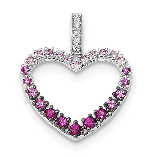 Jewelry Stores Network 14K White Gold Diamond And Pink Sapphire Heart Pendant 18x21mm (0.04 cttw, I1 Clarity, H-I Color)