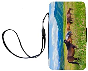 Rikki KnightTM Horses on Pink Meadow Design Galaxy S4 PU Leather Wallet Type Flip Case with Magnetic Flap and Wristlet for Samsung Galaxy S4 i9500