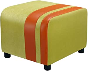 QQXX ZHANGQIANG Faux Leather Ottoman, Padded Foot Stool, Cube Bench Seater for Living Room, Bedroom & Office, 150Kg (Color : Apple Green, Size : 50 45 40cm)