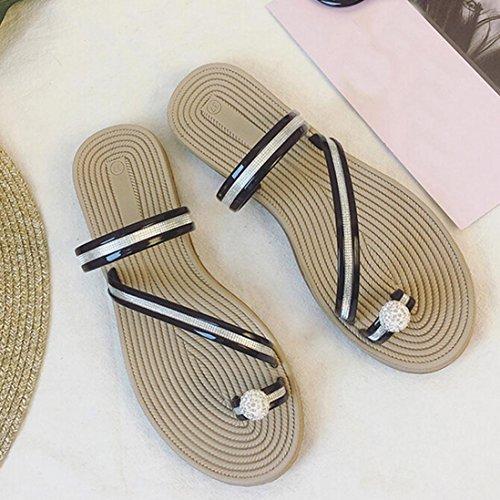Hunpta Frauen Flip Flops Pantoffeln flache Sandalen Sommer Beach Casual Schuhe Schwarz