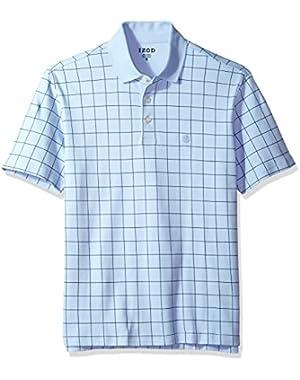 Men's Interlock Short Sleeve Windowpane Polo Shirt