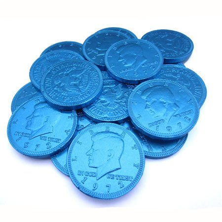 (Fort Knox Milk Chocolate 1.5-inch Coins - Blue Foil, 1 lb )