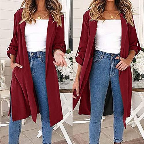Franterd Women Coat Autumn Turn-Down Collar Cardigan Open Front Windbreaker with Belt Overcoat Outwear Pockets Jacket by Franterd (Image #1)