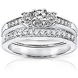 Diamond Three-Stone Bridal Set 3/8 carat (ctw) in 14K White Gold, Size 5, White Gold