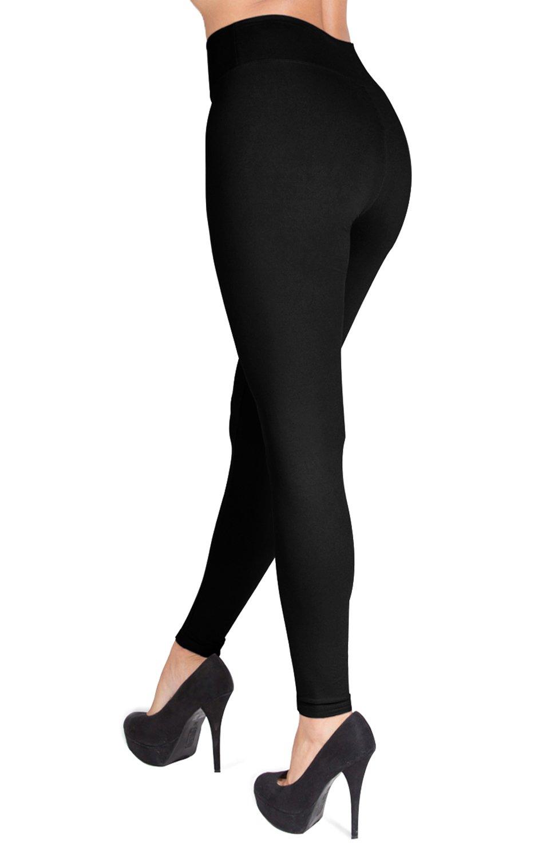 SATINA High Waisted Leggings – 22 Colors – Super Soft Full Length Opaque Slim (One Size, Black) by Sejora (Image #2)