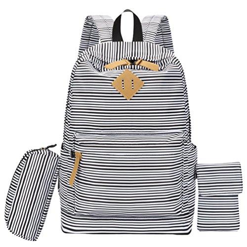 Wanyang 3 Pieces Set Backpack Casual Bag School Bags School Backpack Laptop Backpack Bookbag School Trip Streak