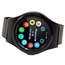 TUFEN Smart Watch, Round Full HD Touch Screen Bluetooth 4.0 Notifier Smartwatch Support SIM & TF/SD Card, Heart Rate, Sleep Monitor, Pedometer for IOS iPhone Android Phone - Black Steel Watch Band