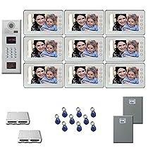 Apartment Video Intercom Nine 7 inch color monitor door panel kit