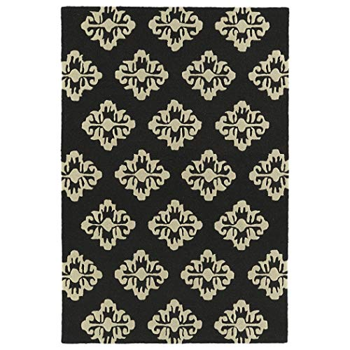 Bombay Home Trends Black Damask Hand Tufted Rug (5'0 x 7'0) - 5' x - Damask Bombay