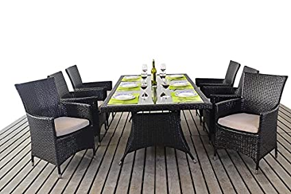 Muebles de jardín Kingston mesa de comedor Rectangular 6 plazas ...